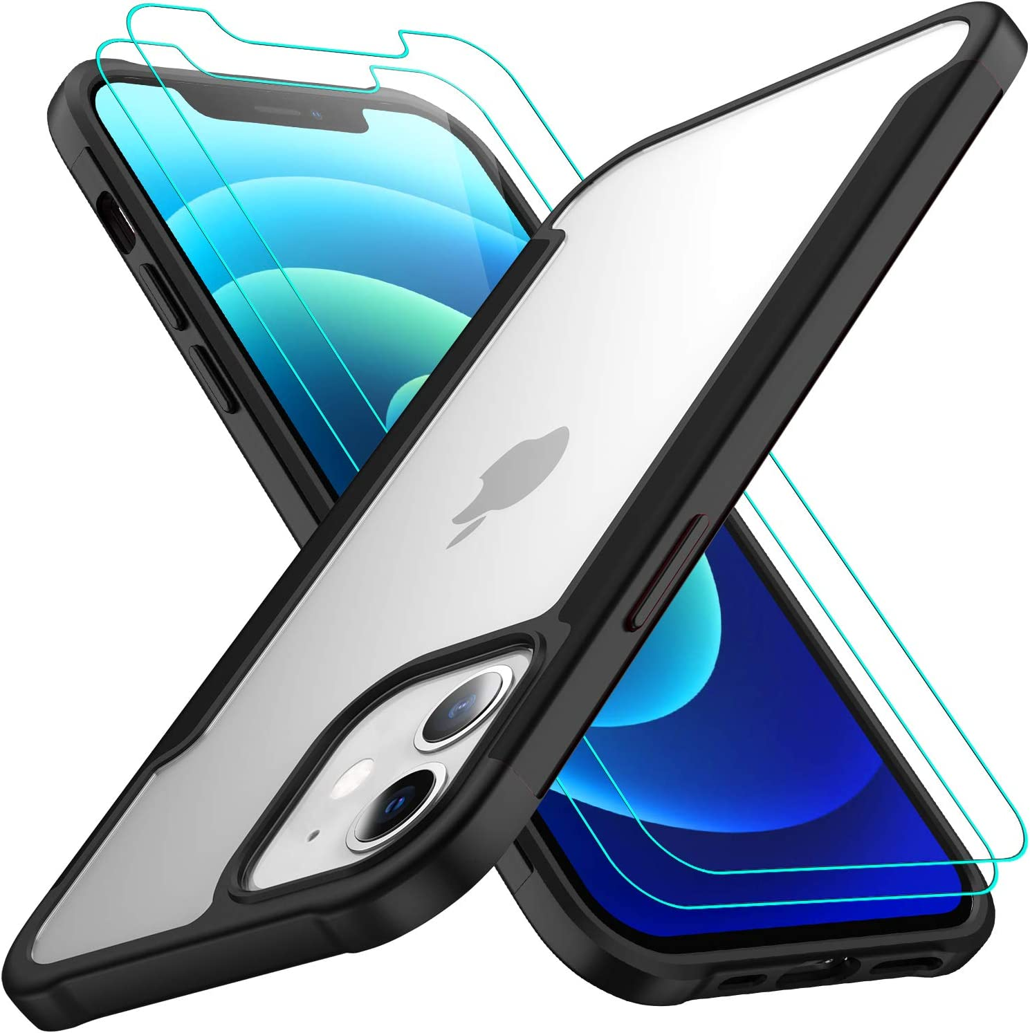 AEDILYS Compatible with iPhone 12 Mini Case (2020),[Airbag Series] with [2 x Tempered Glass Screen Protector] [ Military Grade ] | 15Ft. Drop Tested [Scratch-Resistant] 5.4 Inch (Black)