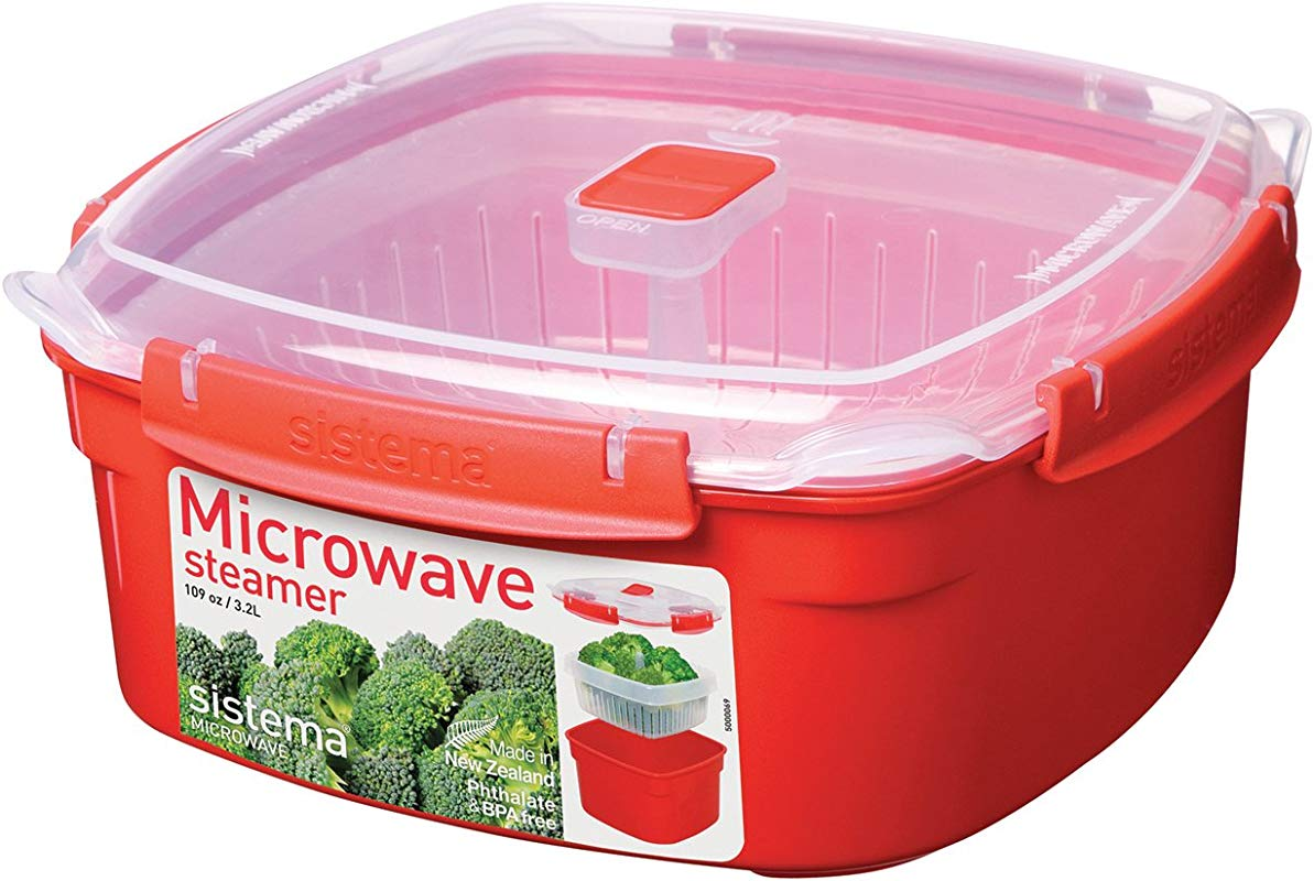 Sistema Microwave Collection Steamer Large 13 6 Cup Red BPA Free Cook And Serve Container