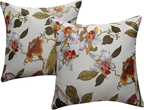 Flower Pillow Case Cushion Cover Anady Pack Of 2 Soft Colorful Flora Birds Decorative Pillow Cover Throw Cushion Case 18 X 18 Inch