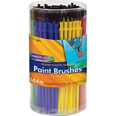 Creativity Street Round Brushes, Assorted Colors, 144 Pack (AC5173)