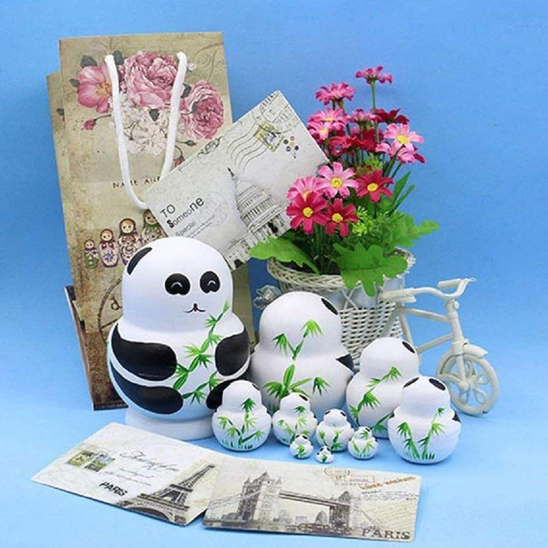 SpirWoRchlan 10Pcs//Set Wooden Panda Animal Russian Nesting Dolls Toy Handmade Craft Kids Gift Traditional Russian Stacking Nested Dolls