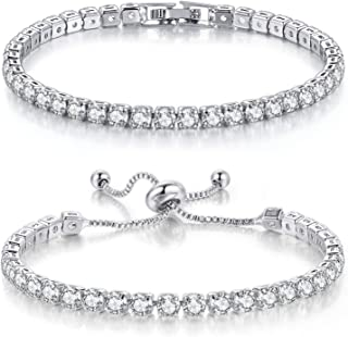 Pulseras de tenis para mujer con diamantes de oro blanco AAA y circonitas cúbicas ornamentales clásicas ajustables, pulser...
