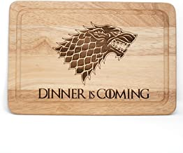"Holz-Schneidebrett / Käsebrett, Game of Thrones-inspiriert ""Dinner Is Coming"", Lasergravur"