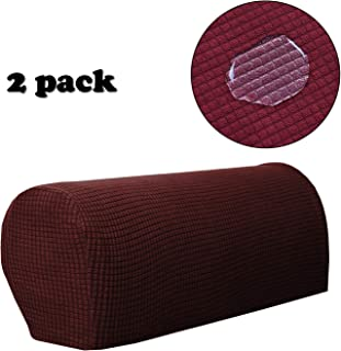 WOMACO Armrest Covers for Sofa Loveseat Chair, Stretch Fabric Anti-Slip Furniture Protector Couch Armrest Cover Set of 2 (Wine)