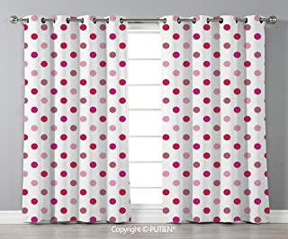 Grommet Blackout Window Curtains Drapes [ Polka Dots,Polka Dots Pattern Consisting of An Array of Filled Circles Pop Art,Baby Pink Fuchsia White ] for Living Room Bedroom Dorm Room Classroom Kitchen C