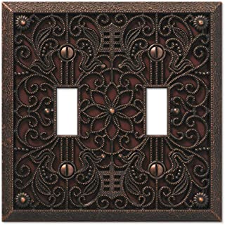 Filigree Double-Toggle Switch Plate in Aged Bronze