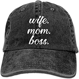 Wife Mom Boss Plain Adjustable Cowboy Cap Denim Hat for Women and Men