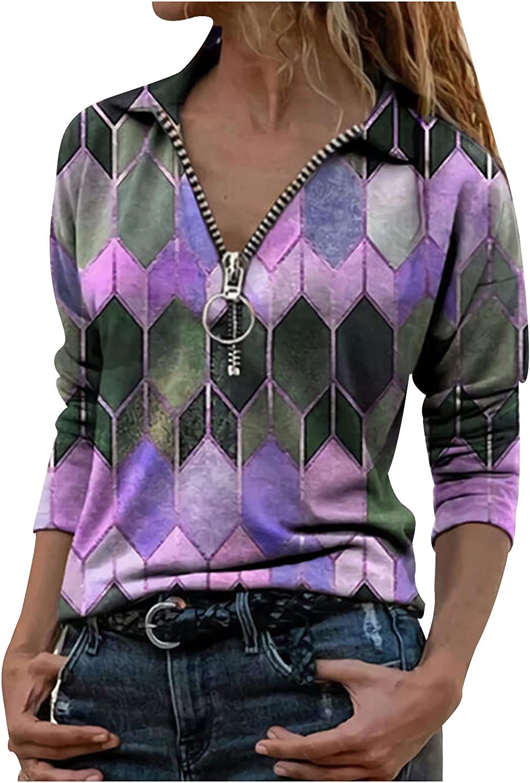 HGWXX7 Womens Tops Plus Size Long Sleeve Quarter Zip T-Shirts Casual Fashion Mountain Print Blouse Tunic Pullover Purple