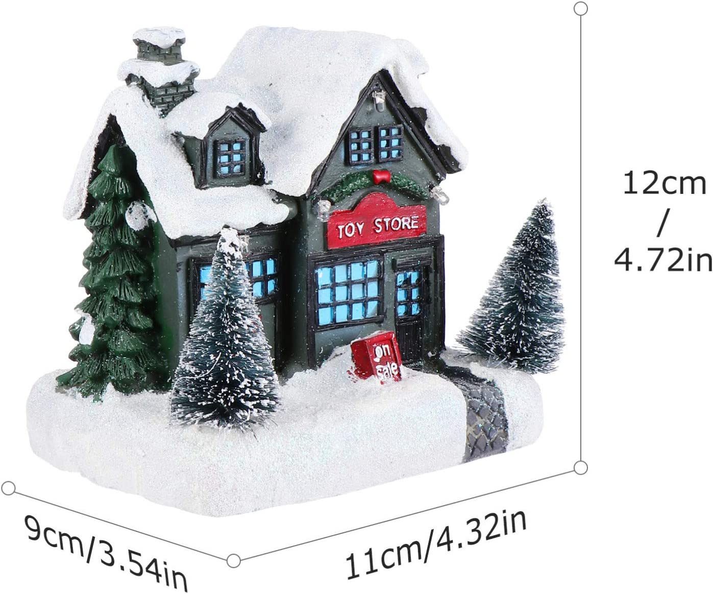 Lurrose 1 Pc Maisons de No/ël Village No/ël P/ère No/ël Lumineux Dessin Anim/é Maison avec D/écoration de Vacances de Neige D/écorations Int/érieures