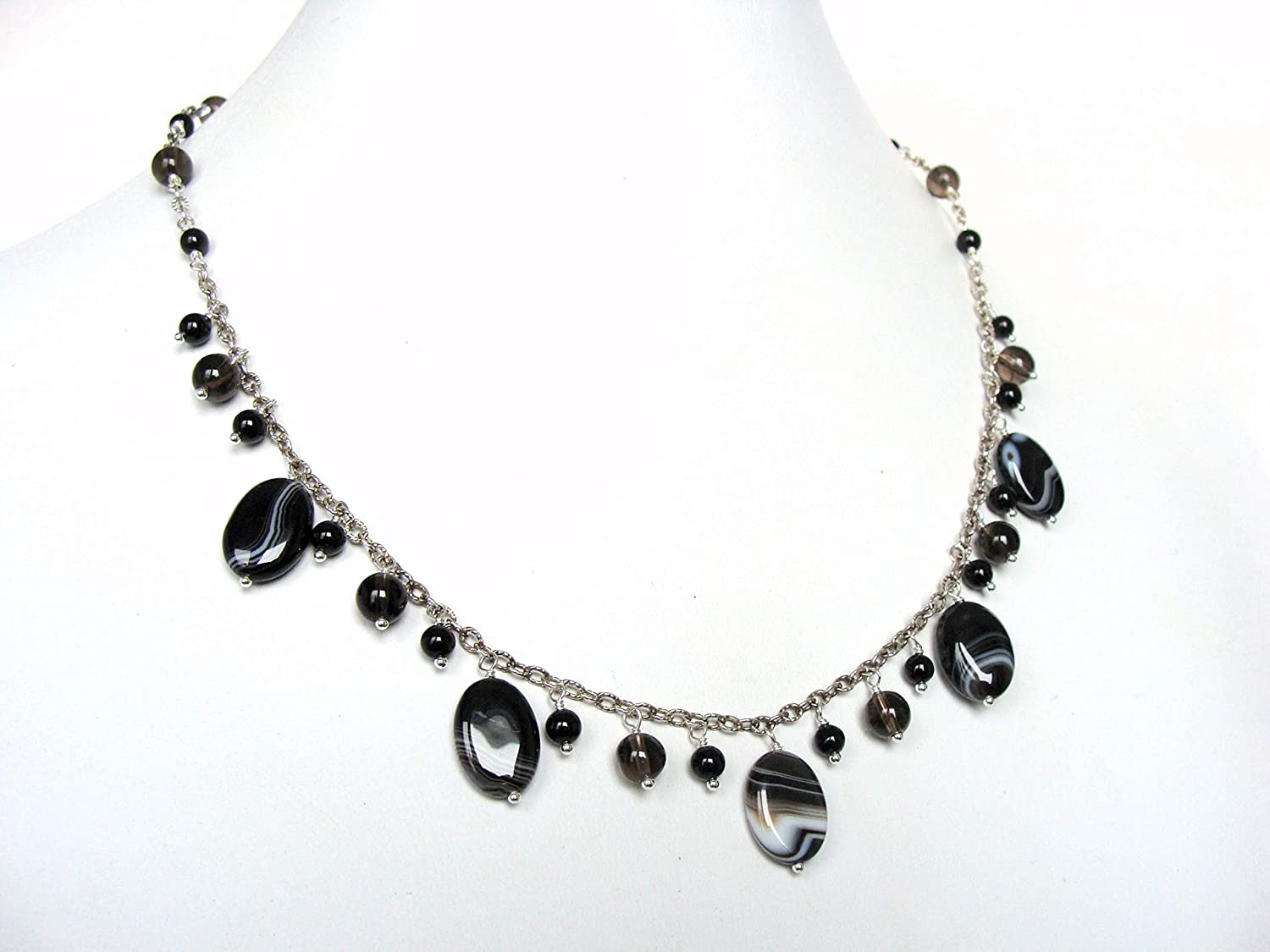 Banded agate necklace bib festoon Super Special SALE held smoky and Courier shipping free quartz b