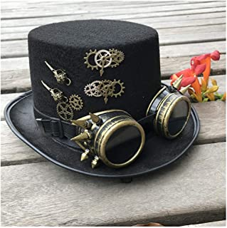 SHENTIANWEI 2019 Fashion Men Women Handmade Steampunk Top Hat with Gear Glasses Magic Hat Performance Bowler Hat Size 57CM