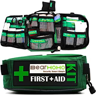 BearHoHo Handy First Aid Kit Bag 165-Piece Premium Compact 3 Layers Medical Bag Emergency Kit for Camping,Hiking,Workplace,Car,Caravan,Travel,Home,Office