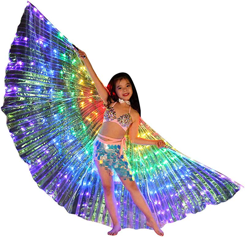 Flurries Children LED Glow Angel Isis Wings Kids Belly Dance Costume Cloak Neon Colorful Butterfly Wings Performance Clothing Cosplay Prop Carnival Halloween Shows