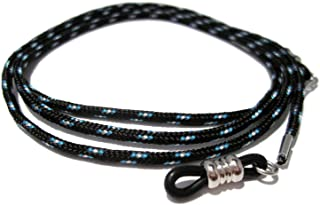 ATLanyards Black with Turquoise and White Paracord Eyeglass Holder with Black Pieces 312