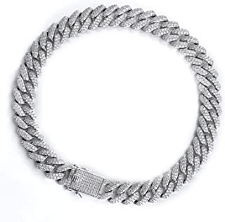 Foreal Miami Cuban Link Bracelet Iced Out Chain Hip Hop Jewelry 5 Times White Gold Plated Choker Necklace for Men and Wome...