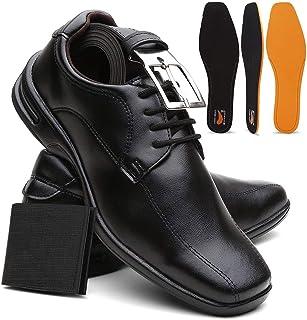 Kit Sapato Masculino Confort Plus Leve E Macio + Cinto e Carteira