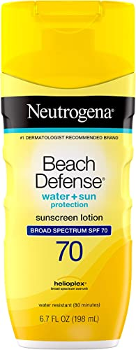 Neutrogena Beach Defense Water Resistant Sunscreen Body Lotion with Broad Spectrum SPF 70, Oil-Free and Fast-Absorbin...