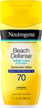 Neutrogena Beach Defense Water Resistant Sunscreen Body Lotion with Broad Spectrum SPF 70, Oil-Free and Fast-Absorbing, 6....