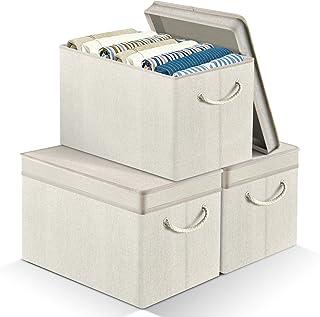 APLKER Boîtes de Rangement, Pliable en Tissu de Lin Paniers de Rangement, avec Poignée en Corde de Coton, Rectangulaires C...