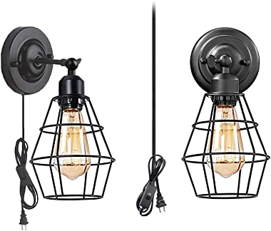 Wall Sconce 2 Pack, Pendant Light Industrial Wall Lamp with Plug-in Cord and On Off Toggle Switch, Vintage Style E26 Base Met