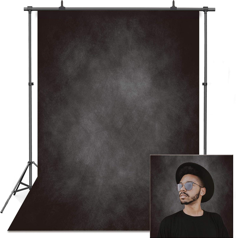 VEOEOV Fondo fotográfico profesional, 1,5 x 2,2 m, antiarrugas, color negro, fondo retro grueso para fotografía, niños, adultos, cabeza familiar.