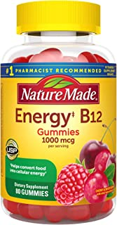 Nature Made Energy‡ B12 1000 mcg Gummies, 80 Count for Metabolic Health