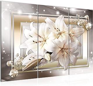 Runa Art Lis Fleurs Peinture Tableau Salon XXL Marron Beige Diamant 120 x 80 cm 3 Parties Decoracion Murale 021731a