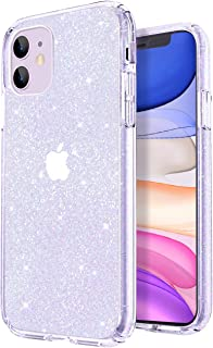 JJGoo Glitter Designed for Apple iPhone 11 Case (2019), Bling Sparkly Shockproof Protective Hybrid Slim Thin Sparkle Cute Phone Cases Cover - Clear Glitter