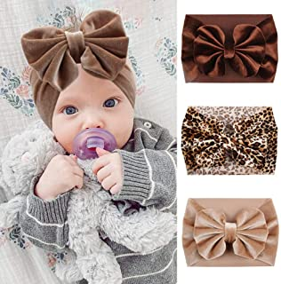 YanJie Leopard Baby Large Velvet Bow Headbands, Super Soft and Elastic HeadWrap for Toddler Baby Girl Photography Prop Hai...