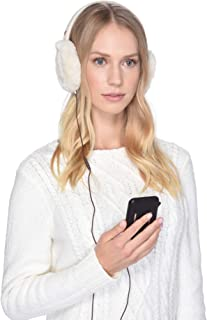 UGG Womens Cable Knit Water Resistant Sheepskin Earmuff with Tech Option