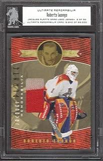 2000-01 BAP Ultimate Memorabilia Hockey Jacques Plante Game-Used Jersey Card #PJ-10 Roberto Luongo 03/30 Florida Panthers