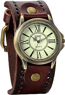 Reloj de pulsera unisex estilo punk retro de bronce con esfera redonda marrón y correa de piel ancha, correa de puño y números romanos, analógico de cuarzo