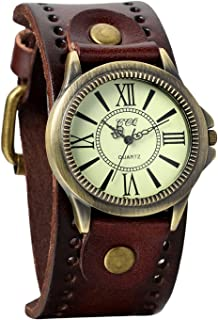 womens brown leather cuff watch