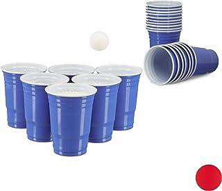 Relaxdays 10020522_45 Gobelet en plastique contenance pour bières fêtes soirées anniversaire 473 ml Bleu Pack de 50
