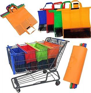 Lot de 4 sacs de courses pour chariot de courses - Convient pour tous les chariots courants en bleu, rouge, orange, vert.