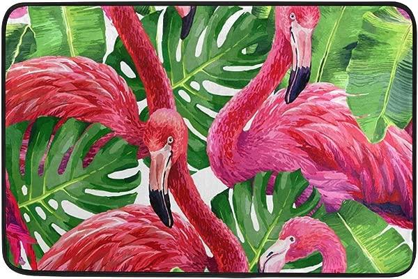 WIHVE Entrance Door Mat Pink Flamingo Tropical Palm Monstera Leafs Non Slip Welcome Doormat For Indoor Outdoor Home Decor Area Rug 23 6 X 15 7 Inch