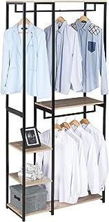 eSituro SGR0023 Portemanteau Portant à vêtement pour Chambre Rangement de Chaussures Penderie en Bois et métal Noir+Chêne ...
