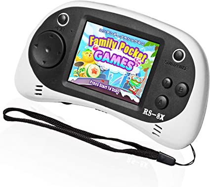 Amazon Com Easegmer Kids Portable Game Player Rs 8x 16 Bit Hd Handheld Game Console Built In 42 Classic Games 2 5 Inch Retro Video Games Console White 1 Toys Games
