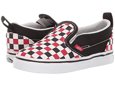 Vans Kids Slip-On V (Infant/Toddler) ((Checkerboard) Black/Racing Red) Boys Shoes
