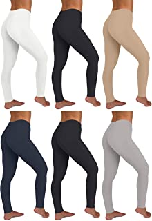 Sexy Basics Womens 6 Pack Stretch Cotton Stretch Full Length Footless Legging Tights
