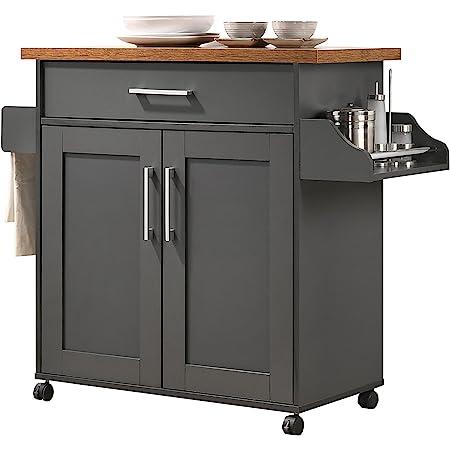 Amazon Com Hodedah Kitchen Island With Spice Rack Towel Rack Drawer Grey With Oak Top Furniture Decor
