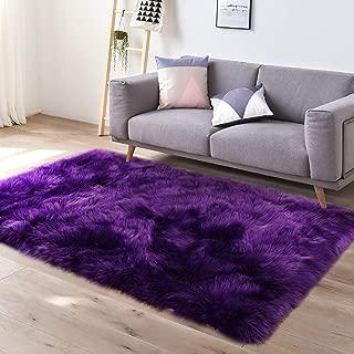 YJ.GWL Super Soft Faux Fur Area Rug (3'x5') for Bedroom Sofa Living Room Fluffy Bedside Rugs Home Decor,Purple Rectangle