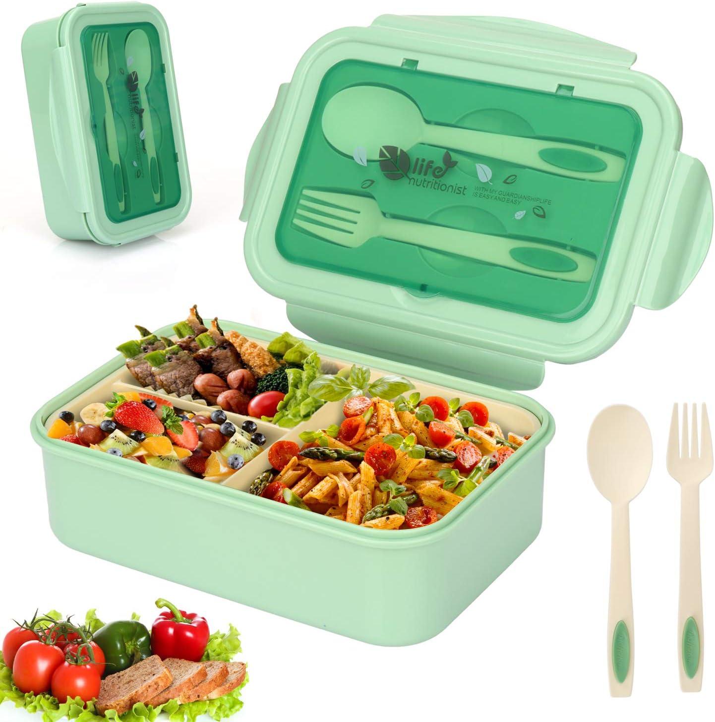 Sinwind Fambrera Infantil, Lunch Box, Bento Box, Fiambrera con 3 Compartimientos, Cuchara Tenedor Lonchera, Bento Box Sostenible, para Microondas y Lavavajillas (Verde)