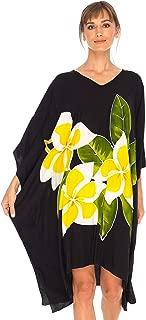 SHU-SHI Womens Short Beach Swimsuit Cover Up Poncho Dress Plus Size Kaftan