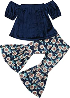 2PCS Baby Girl Off Shoulder Tube Top Shirt+Ruffle Floral Pants Casual Clothing