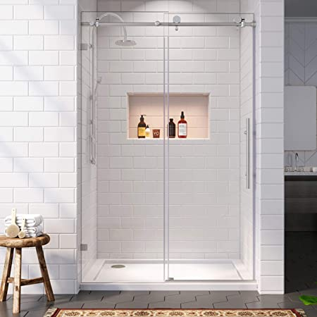 SUNNY SHOWER Sliding Shower Door 64 in. W x 72 in. H Frameless Shower Glass Door for Bathroom Shower Enclosure with 3/8 in. Clear Glass, Brushed Stainless Steel