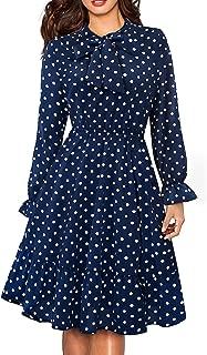 Women's Long Sleeve Casual Polka Dot Aline Swing Dress A130
