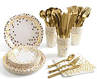 175PCS Gold Party Supplies Set,Disposable Paper Dinnerware Serves 25,Gold Dot Paper Plates Napkins Cups with Gold Plastic ...