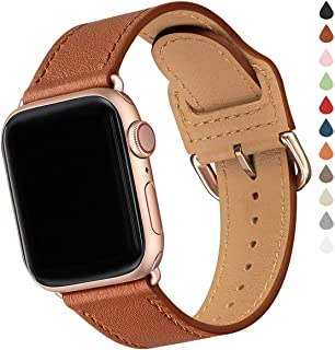 Compatible with Apple Watch Band 38mm 40mm 42mm 44mm, Soft Leather Watch Band Replacement Strap for iWatch Series 5 4 3 2 1 (Brown with Rose Gold, 38MM/40MM)