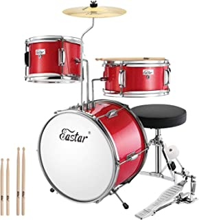 Eastar 14 inch Kids Drum Set 3 Piece with Throne, Cymbal, Pedal & Drumsticks,Metallic Red (EDS-180Re)